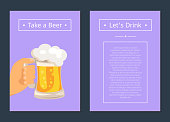Take Beer and Let's Drink Set of Posters with Text