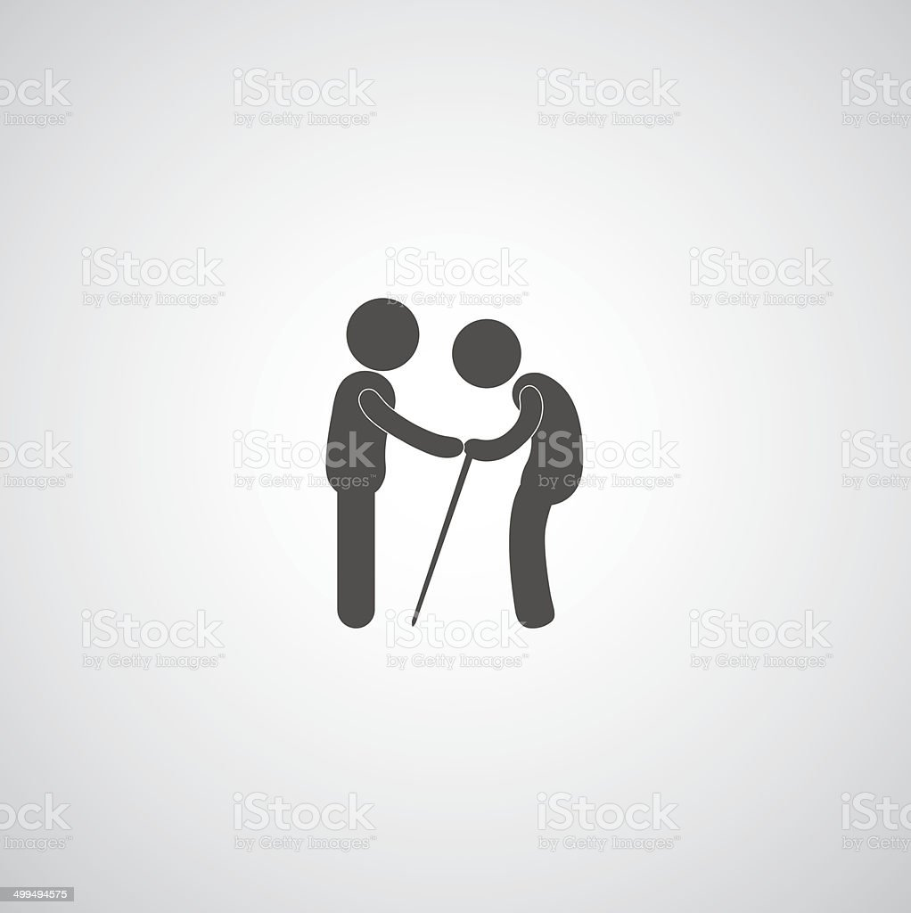 take care elder symbol vector art illustration
