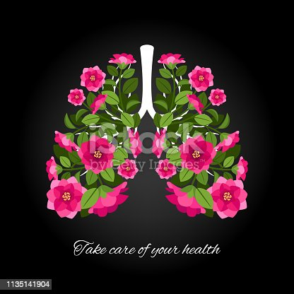 Take care of your health. Human lungs blooming flowers. Vector human lung with colored floral flower illustration