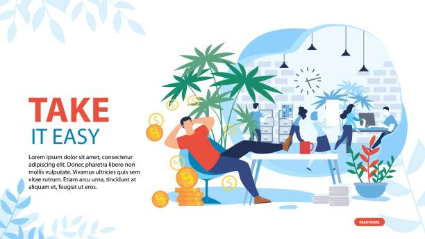 illustrazioni stock, clip art, cartoni animati e icone di tendenza di take it easy and relax motivating landing page - divano procrastinazione