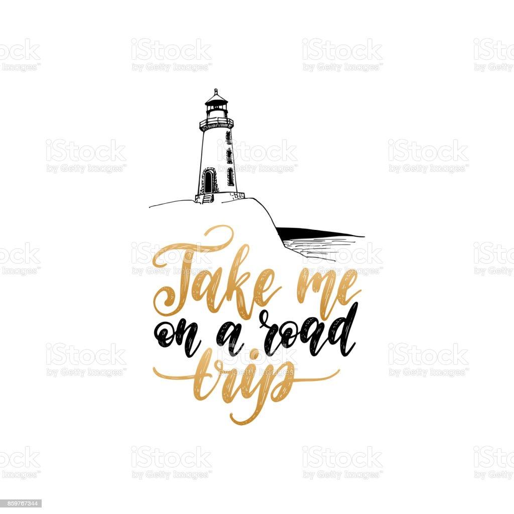レタリング道路の旅行で私の手を取る手描き灯台イラスト ベクトル旅行