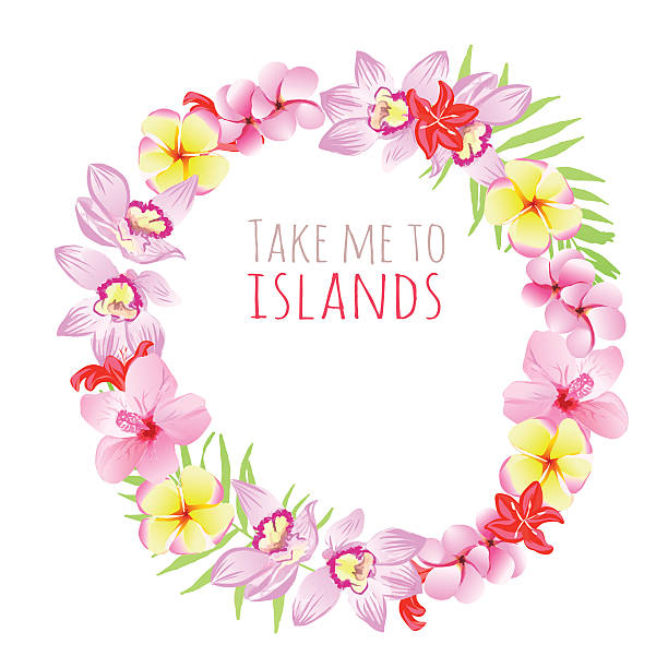 take me to islands round frame. design template with flowers. - hawaiian lei stock illustrations, clip art, cartoons, & icons
