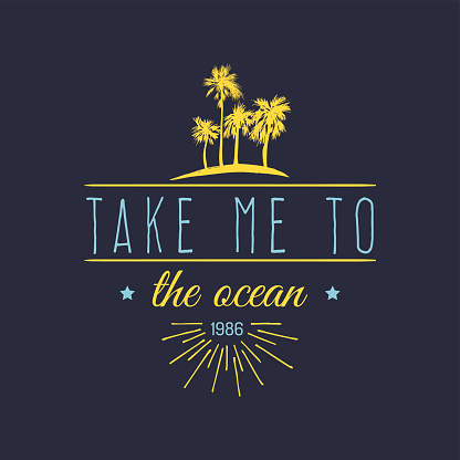 Take me to the ocean vector hand lettering quote banner. Typographic poster with vintage sunglasses, waves illustration.