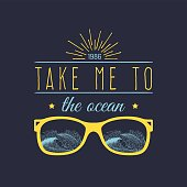 Take me to the ocean vector hand lettering motivational quote banner. Typographic inspirational citation poster with vintage palms illustration.