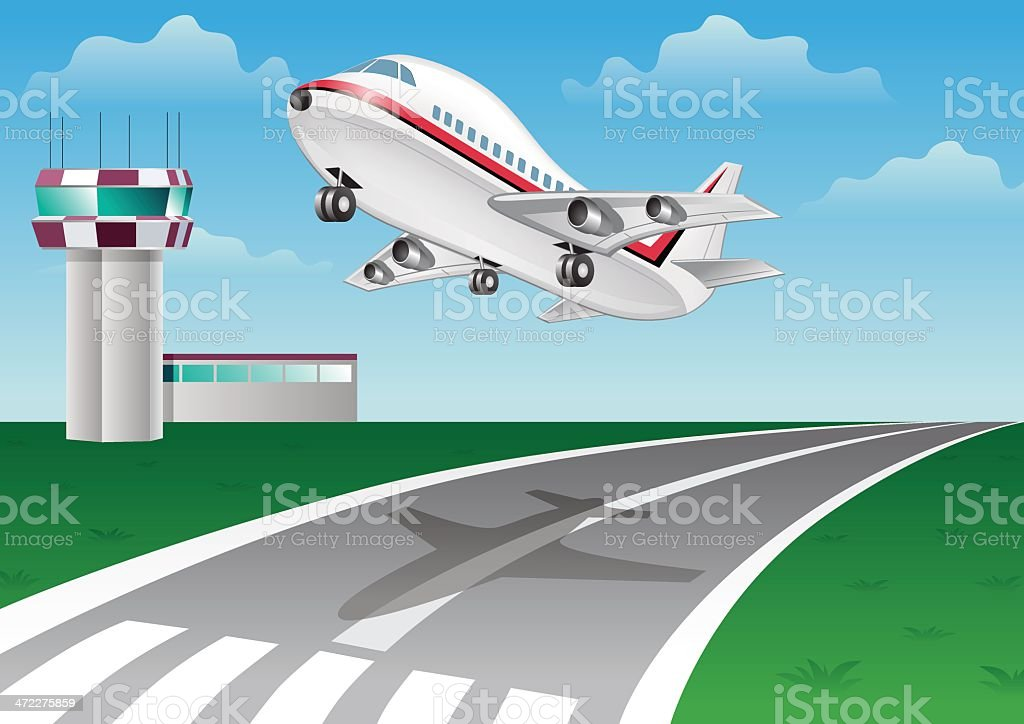 Take off plane from the runway royalty-free stock vector art