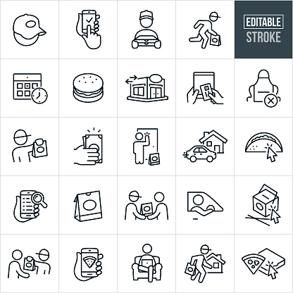 Take Out Delivery Thin Line Icons - Editable Stroke