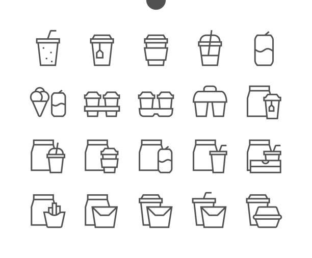 take out ui pixel perfect well-crafted vector thin line icons 48x48 ready for 24x24 grid for web graphics and apps with editable stroke. simple minimal pictogram - junk food stock illustrations, clip art, cartoons, & icons