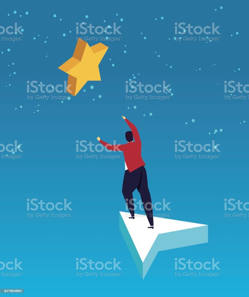Take the arrow to pick the stars vector art illustration