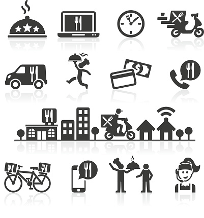 Takeaway and Online Food Delivery Icons.