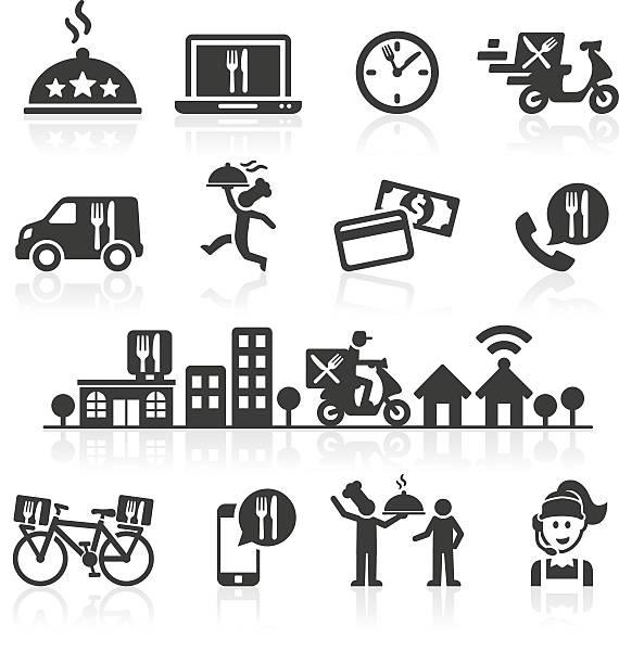 takeaway und online food delivery icons. - bestellen stock-grafiken, -clipart, -cartoons und -symbole