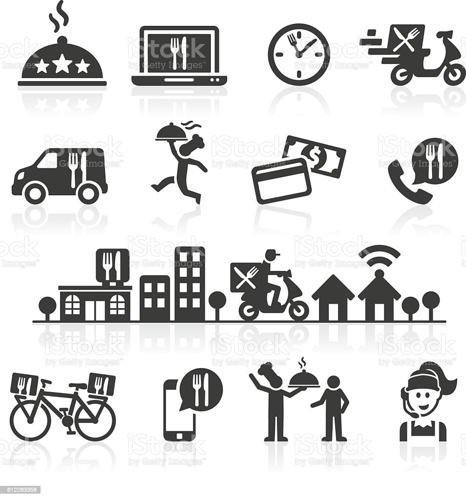 Takeaway and Online Food Delivery Icons. vector art illustration