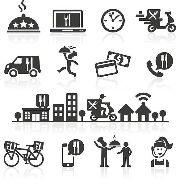 takeaway and online food delivery icons. - food delivery stock illustrations