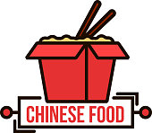 Takeaway chinese noodle box thin line badge