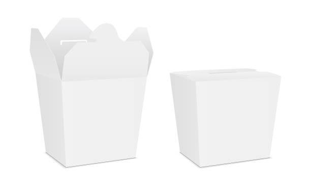 ilustraciones, imágenes clip art, dibujos animados e iconos de stock de caja de fideos chinos para llevar los alimentos - comida china