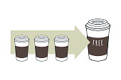 Takeaway coffee cups. Free cup concept. Vector illustration.