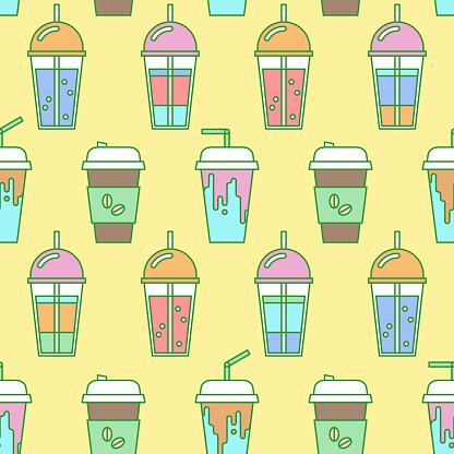 takeaway drink seamless pattern