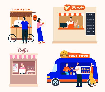 Takeaway food service, set of Chinese food, pizzeria, coffee shop, fast food van