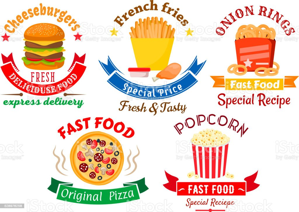Takeaway Meal Symbols For Fast Food Design Stock Vector Art More
