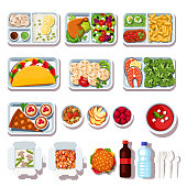 Takeaway meals assortment. Restaurant ready takeout food on disposable plates and plastic cutlery. Takeaway dishes order and delivery. Flat vector illustration isolated on white background