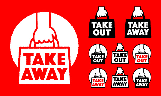Takeaway Takeout icon set vector illustration