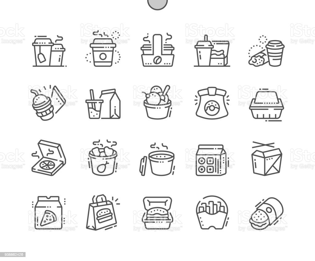 Takeaway Well-crafted Pixel Perfect Vector Thin Line Icons 30 2x Grid for Web Graphics and Apps. Simple Minimal Pictogram vector art illustration