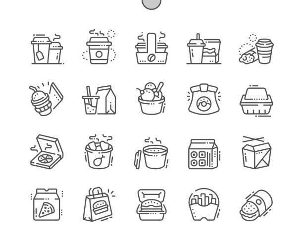 takeaway well-crafted pixel perfect vector thin line icons 30 2x grid for web graphics and apps. simple minimal pictogram - junk food stock illustrations, clip art, cartoons, & icons