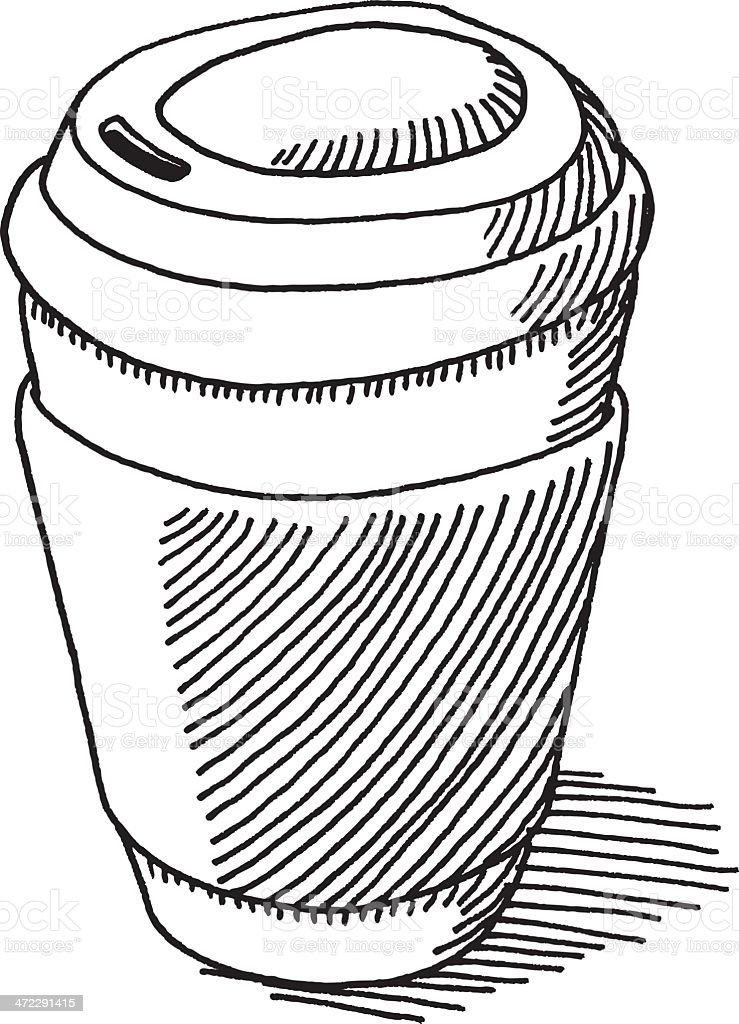 Take-Out Coffee Cup Drawing vector art illustration