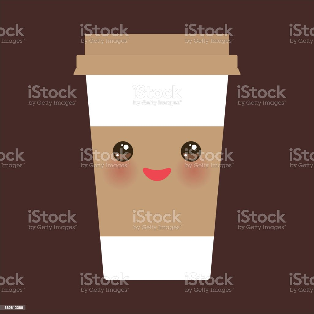 Take-out coffee in Paper thermo coffee cup with brown cap and cup holder. Kawaii cute face with eyes and smile on dark brown background. Vector vector art illustration
