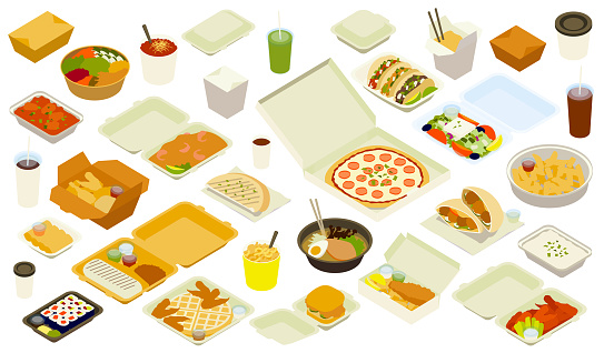 Takeout Delivery Illustration Icons