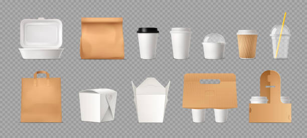 takeout fastfood package realistic transparent Fast food package transparent set with paper bags and boxes and plastic cups realistic vector illustration container stock illustrations