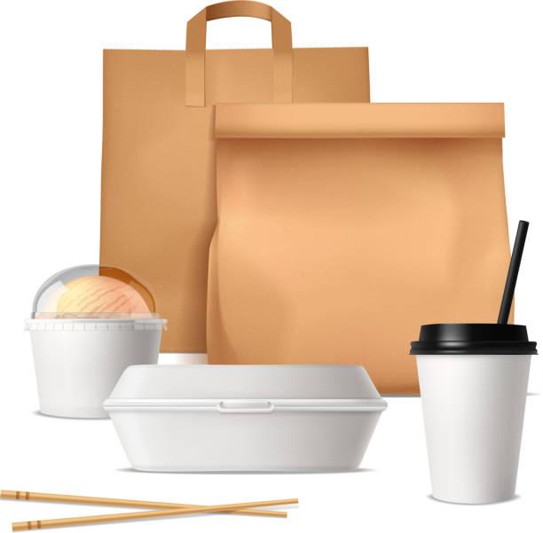 Takeout Fastfood-Paket realistisch – Vektorgrafik