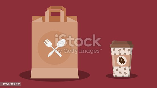 istock Takeout food, takeway food in brown paper bag, coffee in a disposable coffee cup. Fast food delivery concept. 1251339922