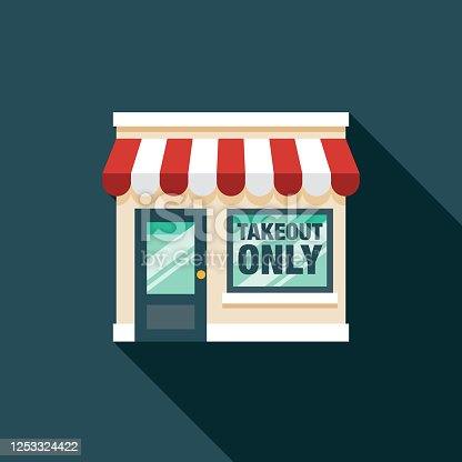 istock Takeout Only Restaurant New Normal Icon 1253324422
