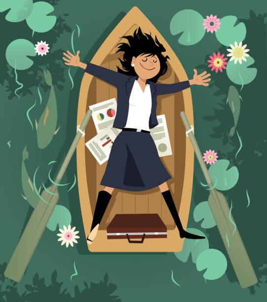 ilustrações de stock, clip art, desenhos animados e ícones de taking a break from work - mulher deixar ir
