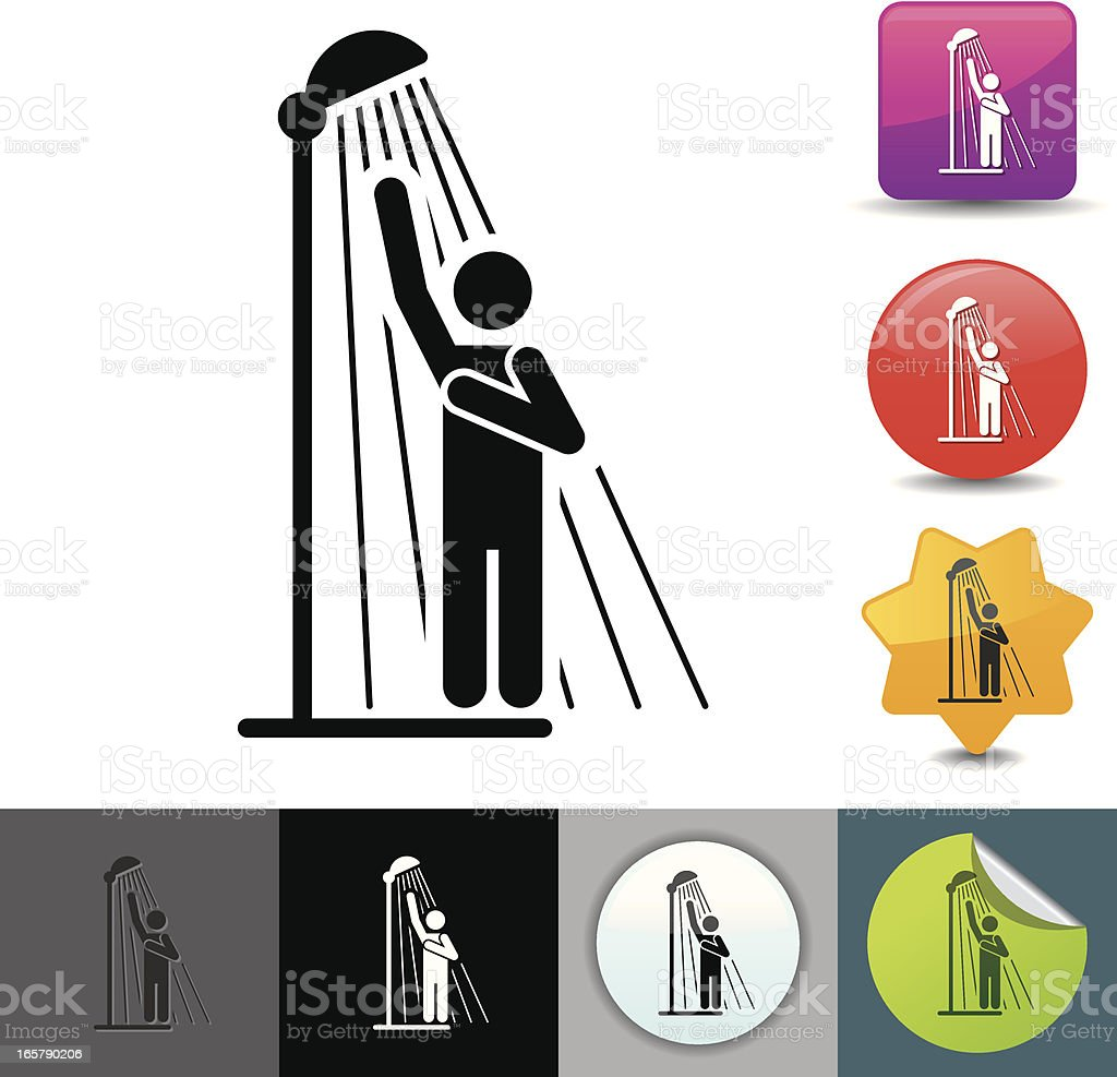 Taking a shower icon | solicosi series royalty-free stock vector art