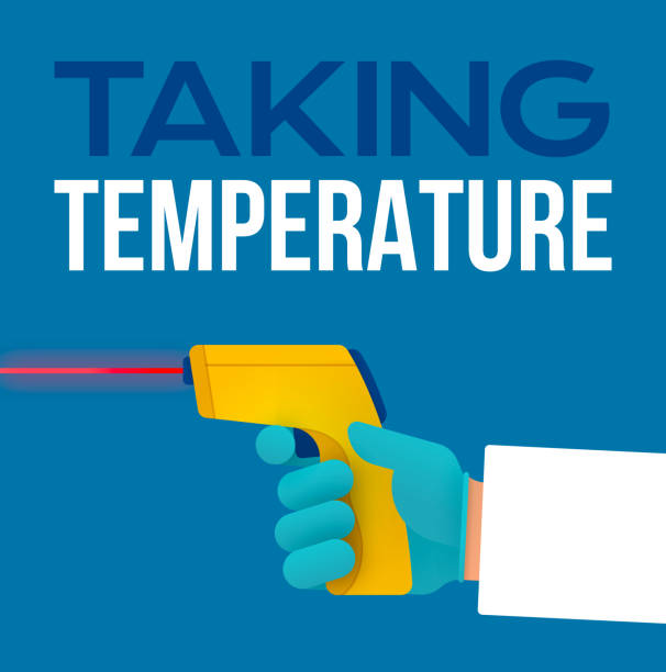 Taking a Temperature using a Handheld Digital Infrared Laser Thermometer Taking a temperature using a handheld digital Infrared laser thermometer. infrared stock illustrations