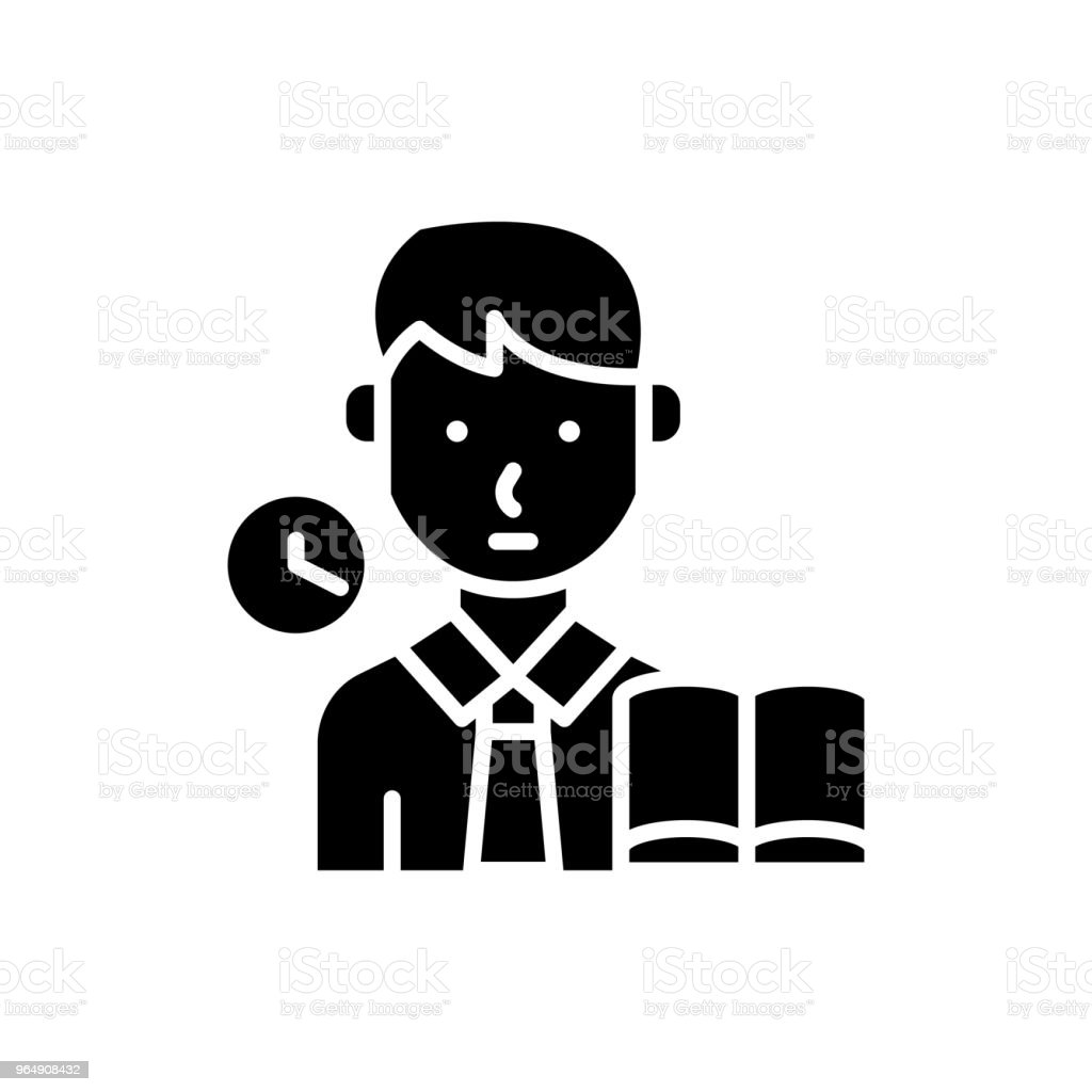 Taking an examination black icon concept. Taking an examination flat  vector symbol, sign, illustration. royalty-free taking an examination black icon concept taking an examination flat vector symbol sign illustration stock vector art & more images of business