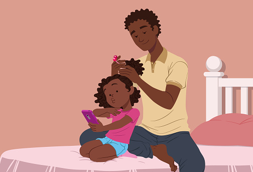 Taking care of daughter's hair