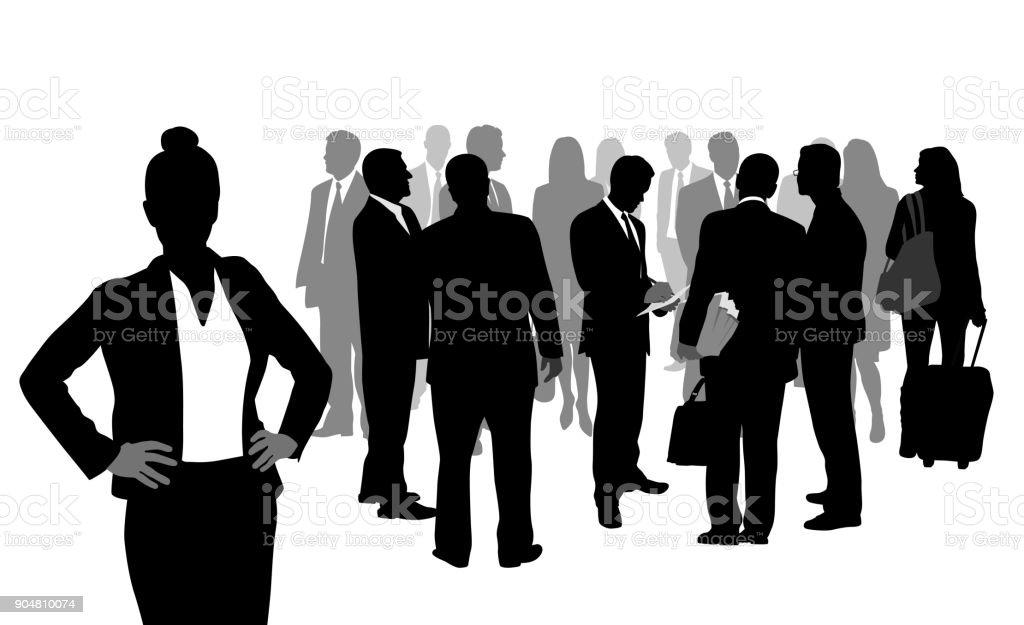 Kümmert sich um Details Geschäftsfrau – Vektorgrafik