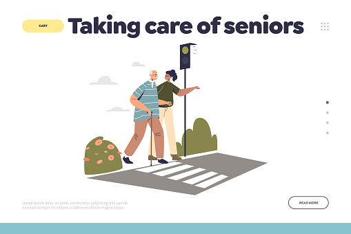 Taking care of senior concept of landing page with young woman helping elder man cross street road