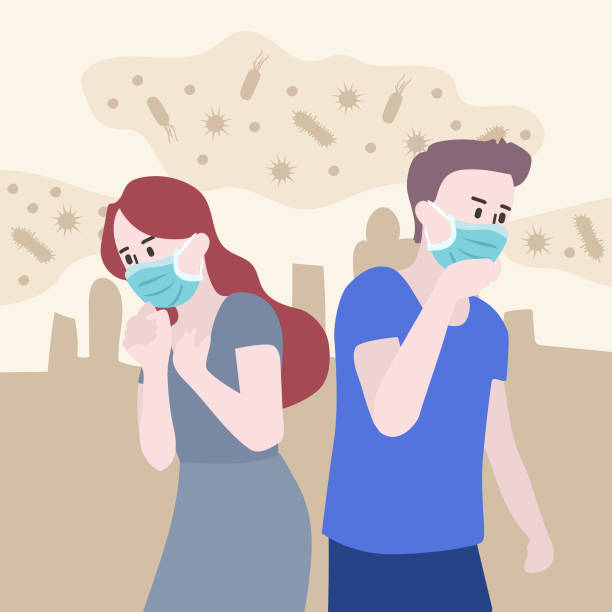 ilustrações de stock, clip art, desenhos animados e ícones de taking care of yourself in public. many people catch a cold. city is filled with anthrax. the spread for new diseases. - boca suja