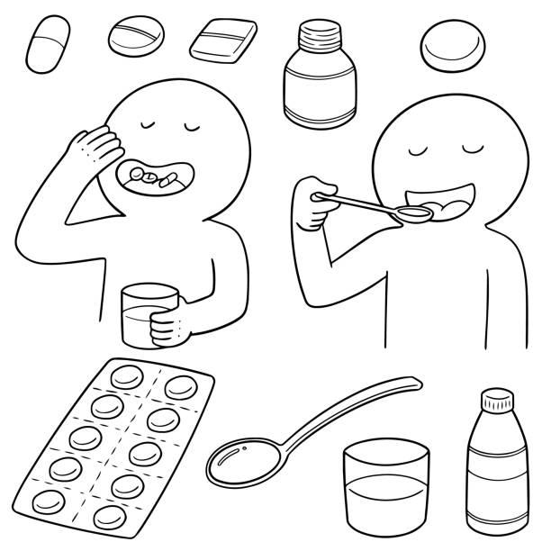 stockillustraties, clipart, cartoons en iconen met het nemen van geneesmiddelen - doordrukstrip