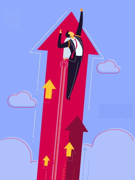 illustrations, cliparts, dessins animés et icônes de décoller vers le ciel élevé - entrepreneur