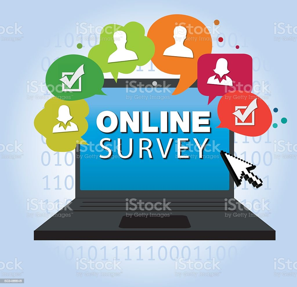taking online survey vector art illustration