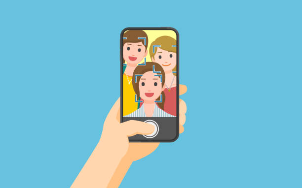 Taking photo on smartphone vector art illustration