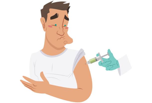 einnahme von vorbeugenden impfstoff - grippeimpfung stock-grafiken, -clipart, -cartoons und -symbole