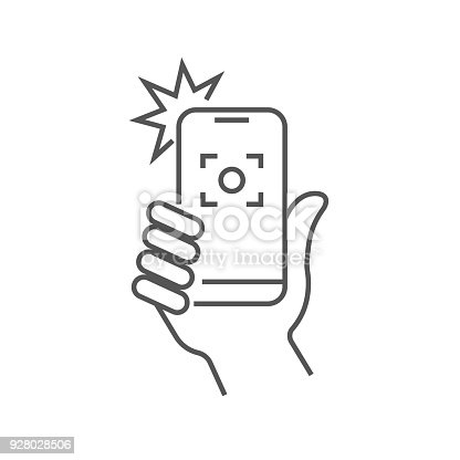 istock Taking selfie on smartphone concept creative icon selfie label. Hand holding smartphone linear icon. Thin line illustration. Smart phone photocamera. Editable Stroke 928028506