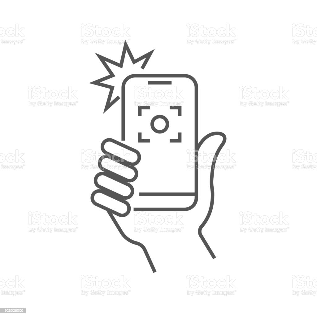 Taking selfie on smartphone concept creative icon selfie label. Hand holding smartphone linear icon. Thin line illustration. Smart phone photocamera. Editable Stroke vector art illustration