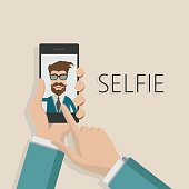 Taking Selfie Photo on Smart Phone concept background.