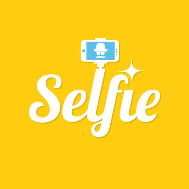 nehmen selfie foto. selfie-stick-design-konzept. selfie label auf gelbem hintergrund. vektor-illustration - selfie stock-grafiken, -clipart, -cartoons und -symbole